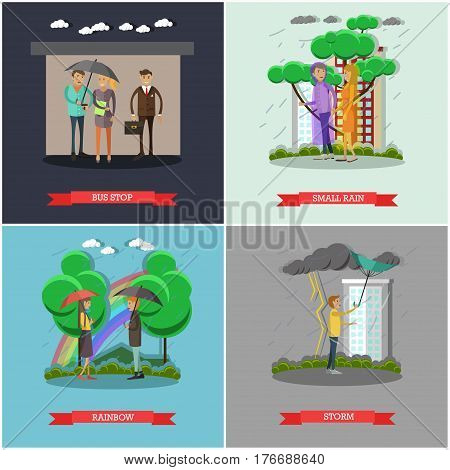 Vector set of rainy weather concept posters. Bus stop, Small rain, Rainbow and Storm design elements in flat style.