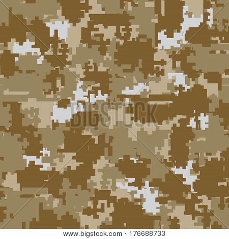 Digital pixel brown desert camouflage seamless patterns. Texture textile Illustration