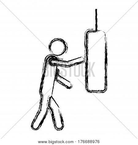 monochrome sketch of man knocking punching bag vector illustration