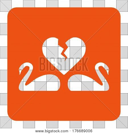 Divorce Swans interface icon. Vector pictogram style is a flat symbol hole inside a rounded square shape, orange color.