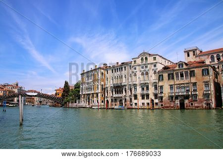 Houses Along Grand Canal In Venice, Italy.