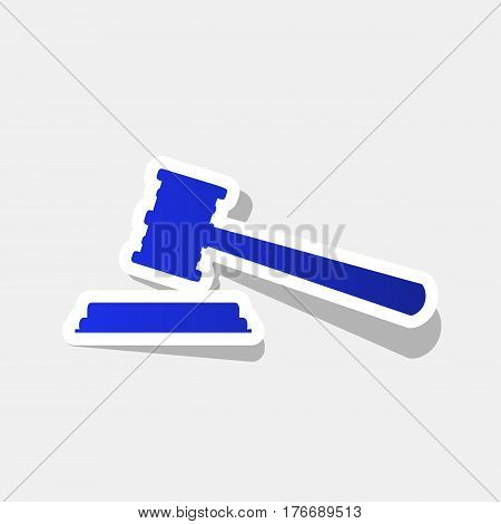 Justice hammer sign. Vector. New year bluish icon with outside stroke and gray shadow on light gray background.