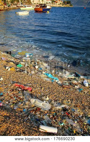 Beach polluted with plastic garbage due to sea currents Korcula island Croatia.