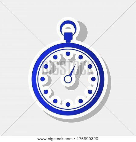 Stopwatch sign illustration. Vector. New year bluish icon with outside stroke and gray shadow on light gray background.