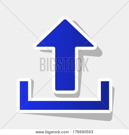 Upload sign illustration. Vector. New year bluish icon with outside stroke and gray shadow on light gray background.