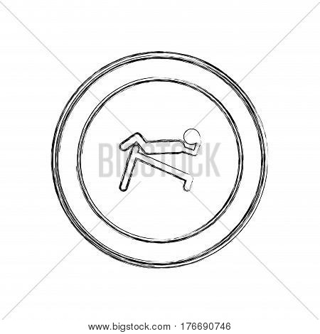 monochrome sketch of man abdominal training on inclined bar in circular frame vector illustration