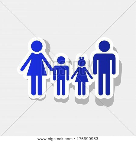 Family sign. Vector. New year bluish icon with outside stroke and gray shadow on light gray background.