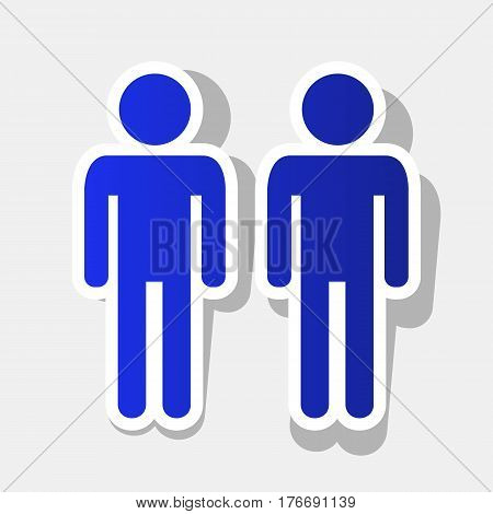 Gay family sign. Vector. New year bluish icon with outside stroke and gray shadow on light gray background.