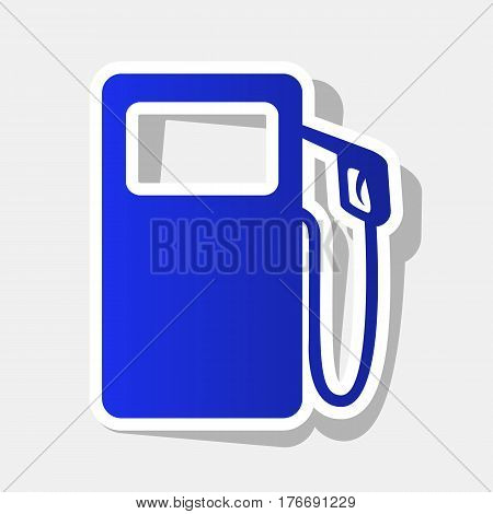 Gas pump sign. Vector. New year bluish icon with outside stroke and gray shadow on light gray background.