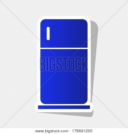 Refrigerator sign illustration. Vector. New year bluish icon with outside stroke and gray shadow on light gray background.