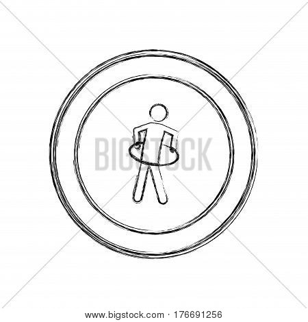 monochrome sketch of training in hula hoop in circular frame vector illustration