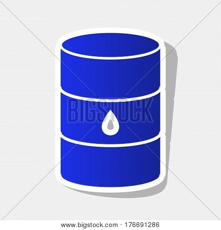 Oil barrel sign. Vector. New year bluish icon with outside stroke and gray shadow on light gray background.