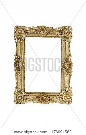 Gold picture frame on white background with clipping path