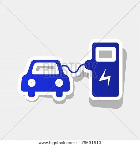 Electric car battery charging sign. Vector. New year bluish icon with outside stroke and gray shadow on light gray background.