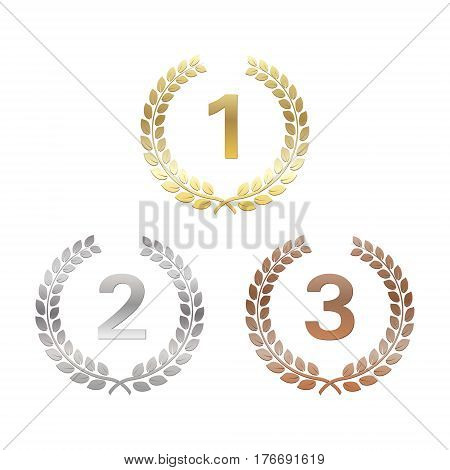 Golden silver and bronze Laurel Wreaths. Awards for winners. Honoring champions. Signs for 1st 2nd and 3rd places. Trophy for challenge. Vector illustration for posters flyers decoration.