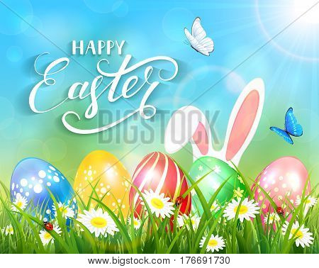 Easter theme with ears of bunny and butterflies flying above the colorful eggs in grass and flowers, nature background with sun beams and lettering Happy Easter, illustration.
