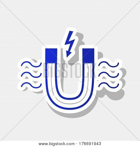 Magnet with magnetic force indication. Vector. New year bluish icon with outside stroke and gray shadow on light gray background.
