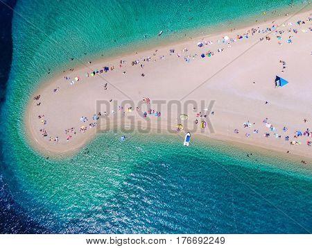 Aerial view of Zlatni rat beach in Bol, Island Brac, Croatia