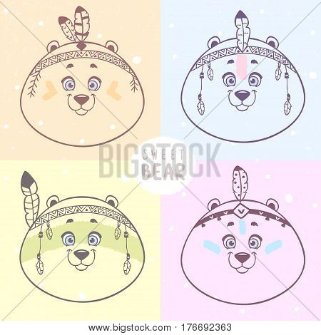Set of cute and funny cartoon bear with feathers in ethnic style. Vector illustration