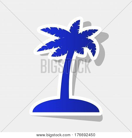 Coconut palm tree sign. Vector. New year bluish icon with outside stroke and gray shadow on light gray background.