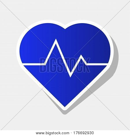 Heartbeat sign illustration. Vector. New year bluish icon with outside stroke and gray shadow on light gray background.
