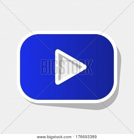 Play button sign. Vector. New year bluish icon with outside stroke and gray shadow on light gray background.