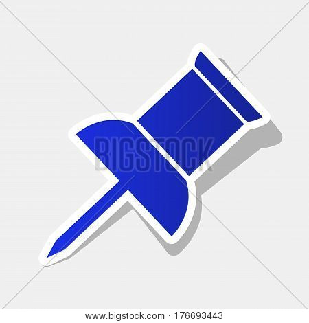 Pin push sign. Vector. New year bluish icon with outside stroke and gray shadow on light gray background.