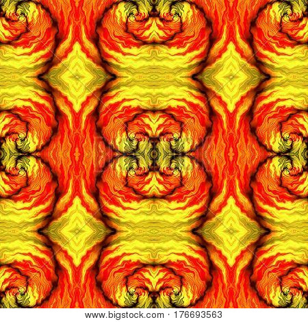 Abstract seamless red, yellow, black and orange infernal pattern with stylized flames. Abstract kaleidoscopic wavy  ornamental pattern with fires