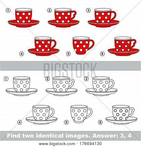 The design difference. Vector visual game for kid education. Simple level of difficulty. Easy educational game. Task and answer. Find two similar Red Tea Pairs.