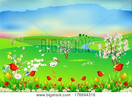 landscape of flowering trees, storks and the river