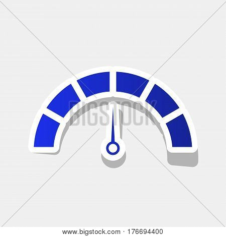 Speedometer sign illustration. Vector. New year bluish icon with outside stroke and gray shadow on light gray background.