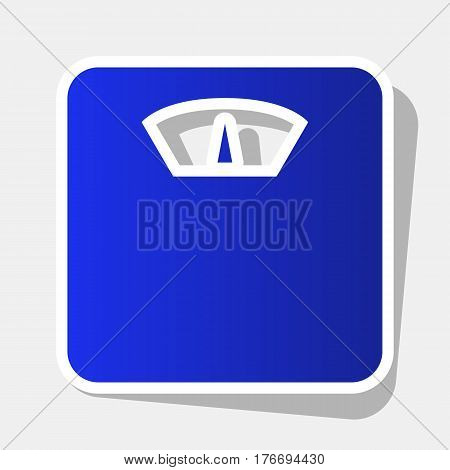 Bathroom scale sign. Vector. New year bluish icon with outside stroke and gray shadow on light gray background.