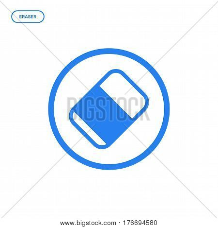 Vector illustration of flat line eraser icon. Graphic design concept of designer tool. Use in Web Project and Applications. Blue outline isolated object.