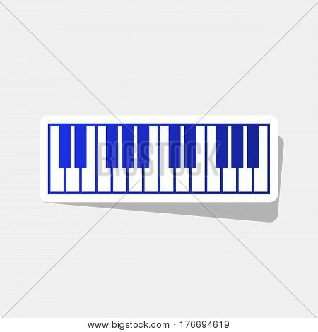 Piano Keyboard sign. Vector. New year bluish icon with outside stroke and gray shadow on light gray background.