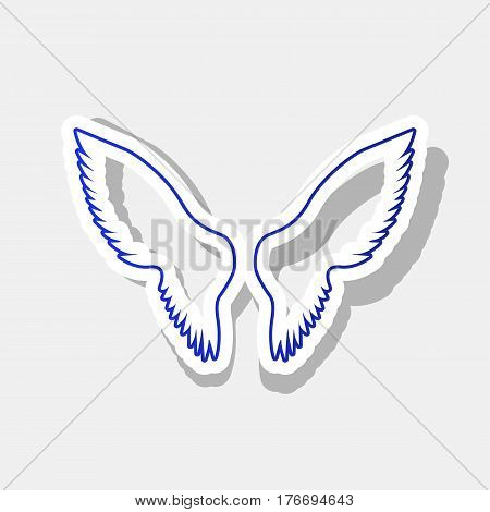Wings sign illustration. Vector. New year bluish icon with outside stroke and gray shadow on light gray background.