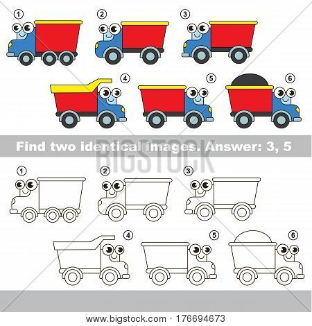 The design difference. Vector visual game for kid education. Simple level of difficulty. Easy educational game. Task and answer. Find two similar Lorries.