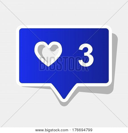 Like and comment sign. Vector. New year bluish icon with outside stroke and gray shadow on light gray background.