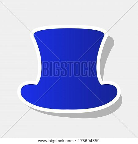 Top hat sign. Vector. New year bluish icon with outside stroke and gray shadow on light gray background.