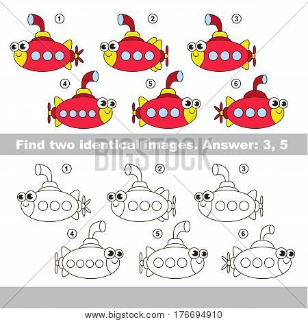 The design difference. Vector visual game for kid education. Simple level of difficulty. Easy educational game. Task and answer. Find two similar Submarines.