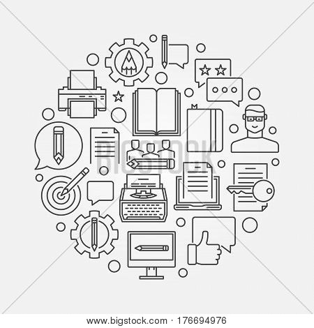 Copywriting and marketing line illustration. Vector minimal content writing and blogging circular outline sign