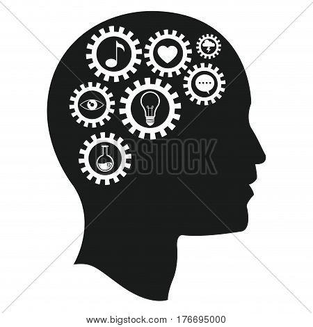 head brain gears intelligence media vector illustration eps 10