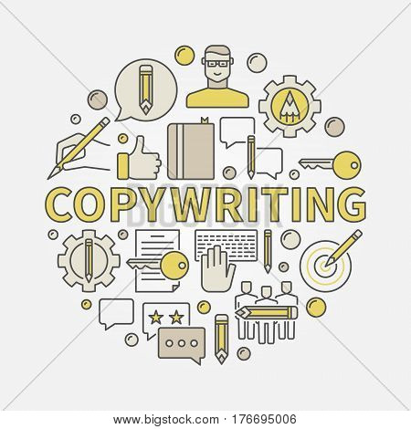 Copywriting round colorful illustration. Vector flat symbol made with blogger and writing icons and word COPYWRITING