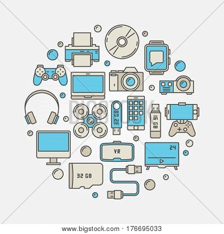 Gadgets round colorful illustration. Vector creative symbol made different icons of devices and consumer electronics