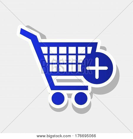 Shopping Cart with add Mark sign. Vector. New year bluish icon with outside stroke and gray shadow on light gray background.