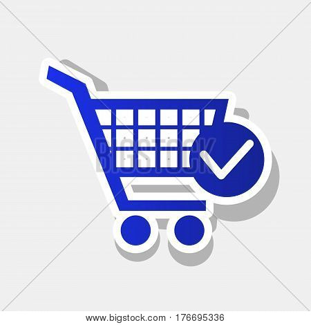 Shopping Cart with Check Mark sign. Vector. New year bluish icon with outside stroke and gray shadow on light gray background.