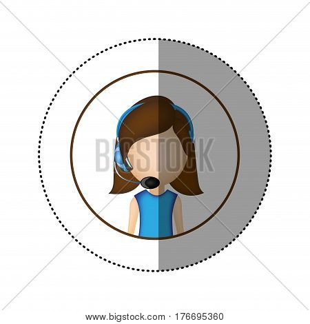 color sticker of circular frame with woman call center vector illustration