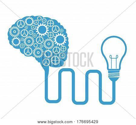 brain gears connected bulb creativity vector illustration eps 10