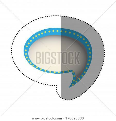 color sticker of cloud speech with tail and contour blue with yellow dots vector illustration