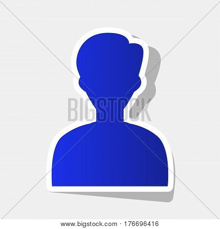 User avatar illustration. Anonymous sign. Vector. New year bluish icon with outside stroke and gray shadow on light gray background.