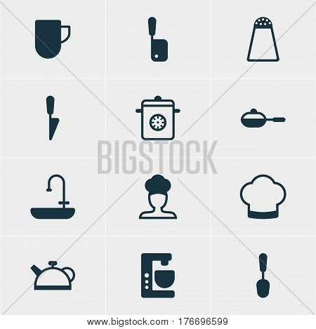 Vector Illustration Of 12 Restaurant Icons. Editable Pack Of Mixer, Cook, Pepper Container And Other Elements.